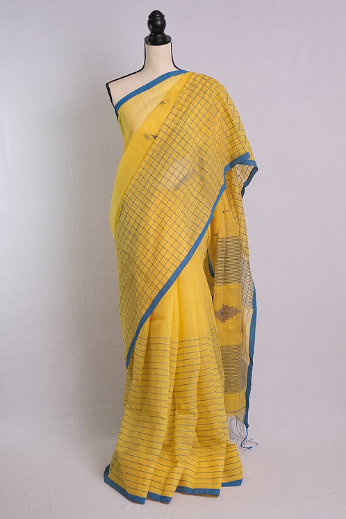 Soft Cotton Saree in Yellow and Blue