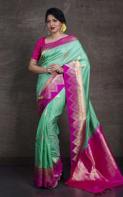 Pure Katan Banarasi Silk Saree in Sea Green and Fuscia