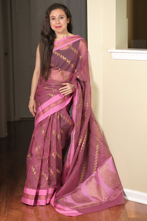Semi Organza Banarasi Saree in English Purple and Antique Gold