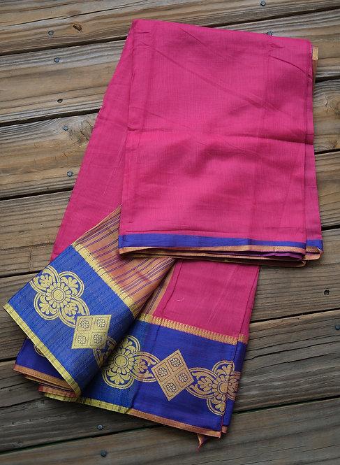 Semi Cotton Banarasi Saree in Rani and Blue