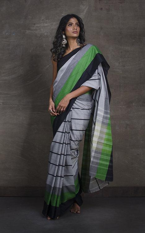 Bengal Handloom Designer Soft Cotton Saree in Grey, Black and Green