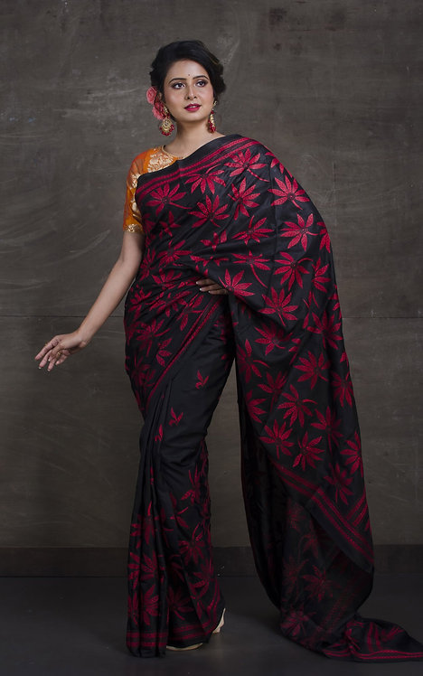 Pure Silk Hand Embroidery Kantha Stitch Saree in Black and Red