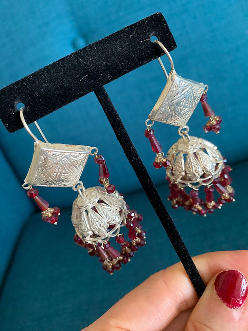 Big Pure Silver Afghan light Weight Jhumkas