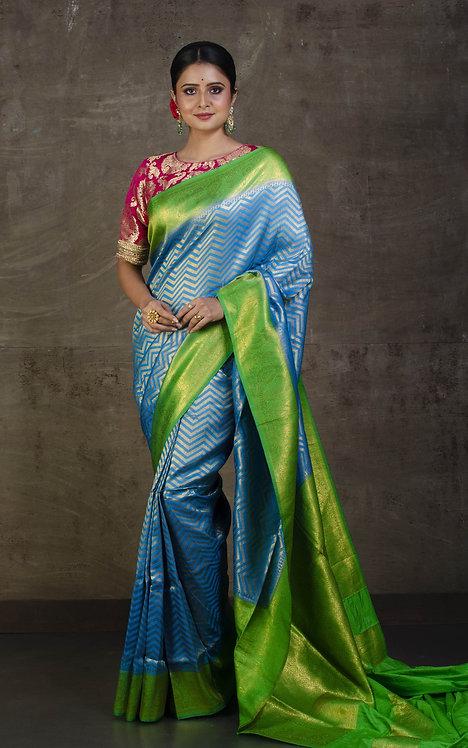 Semi Silk Banarasi Saree in Blue and Parrot Green