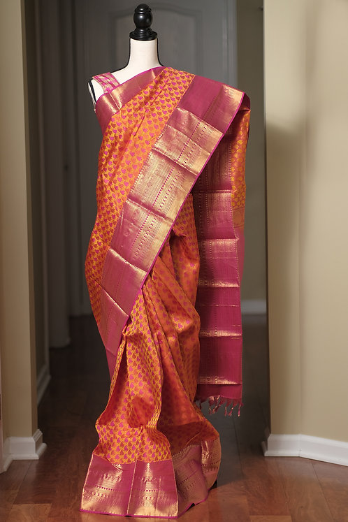 Pure Brocade Silk Kanjivaram Saree in Orange and Hot Pink