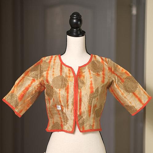Orange and Gold Cotton Silk Designer Choli Blouse in Size 32