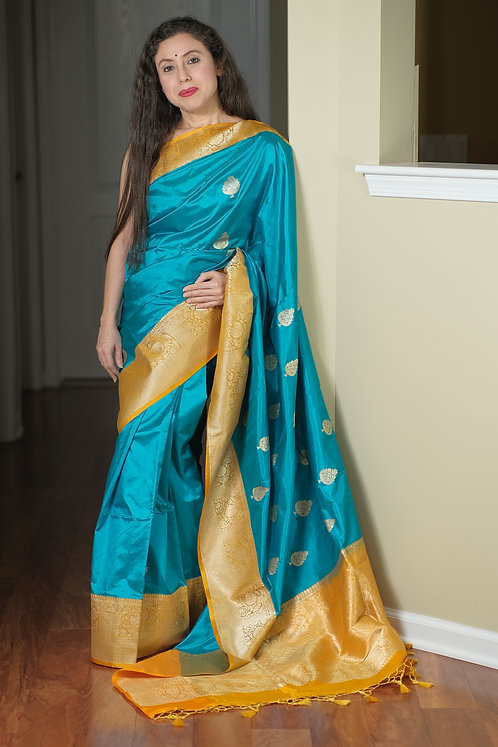 Banarasi Katan Silk Saree in English Blue and Yellow