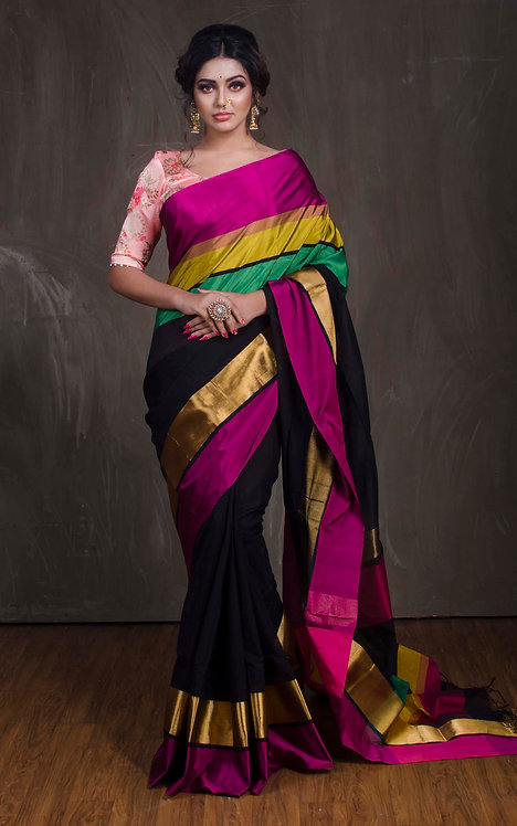 Maheshwari Cotton Silk Saree in Black, Pink, Yellow and Green