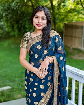 Bengal Looms Client Diaries - Naima from Maryland looking absolutely gorgeous in her Prussian Blue Designer Partywear Saree from Bengal Looms.Bengal Looms Client Diaries - Naima from Maryland looking absolutely gorgeous in her Prussian Blue Designer Partywear Saree from Bengal Looms.