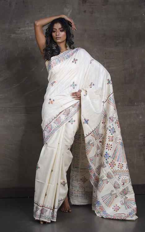 Hand Painted Madhubani  Saree on Pure Gicha Tussar Silk in Off White