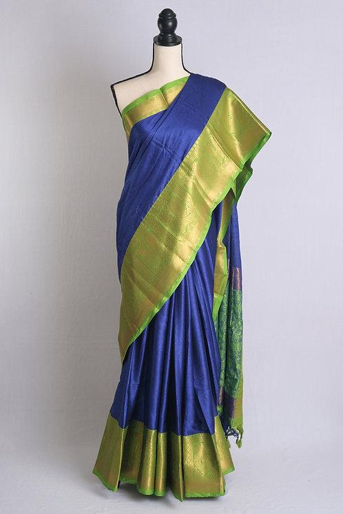 Art Silk Kanjivaram Saree in Royal Blue and Green