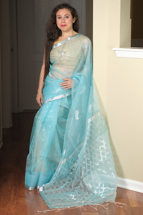 Pure Muslin Saree in Sky Blue and Silver