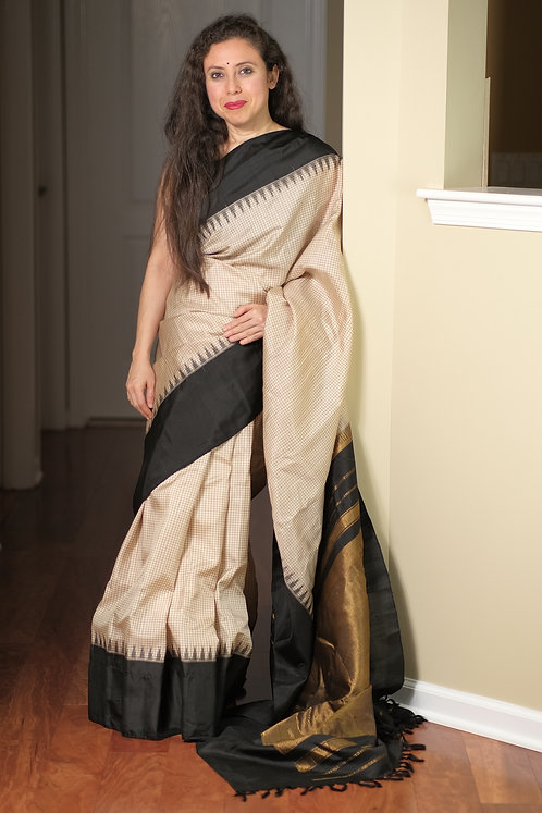Gadwal Silk Saree with Micro Checks in Cream, Biscuit Brown and Black