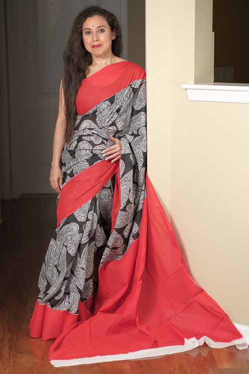 Block Printed Soft Mulmul Cotton Saree in Black and Red