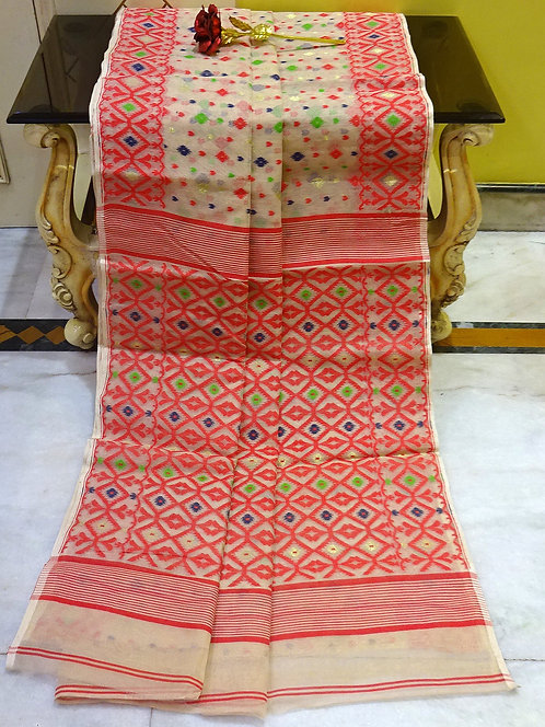 Bengal Jamdani Saree with Starch in Beige and Red