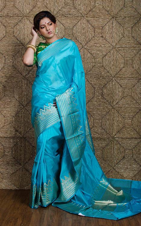 Valkalam Banarasi Silk Saree in Sky Blue and Gold