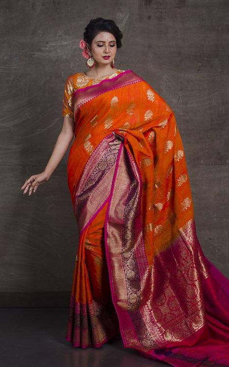 Dupion Tussar Banarasi Saree in Orange and Hot Pink