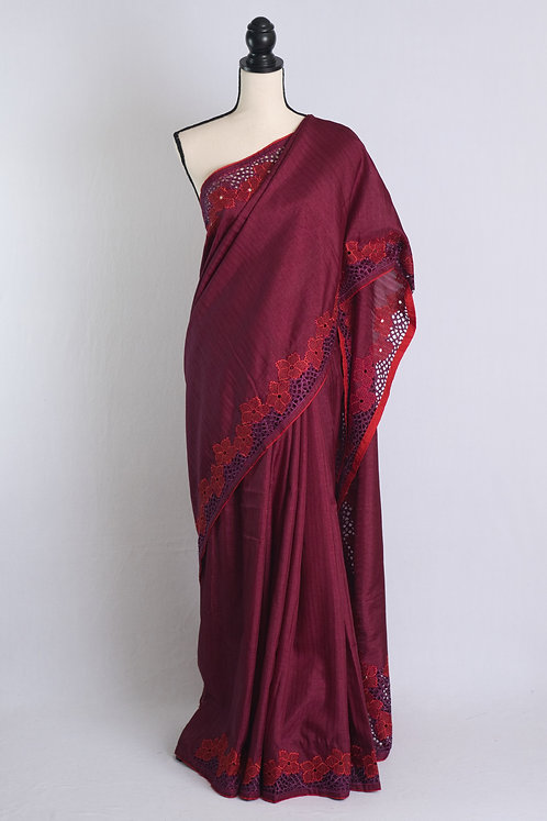 Semi Tussar Designer Cut Work Saree in Magenta and Red