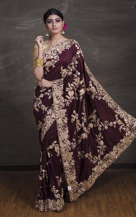 Dola Silk Embroidery Gota Patti Saree in Burgundy and Gold