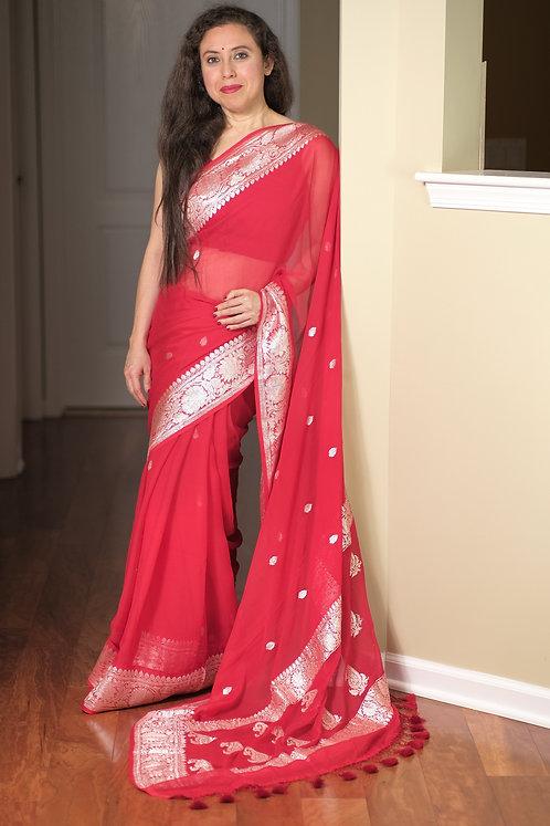 Pure Chiffon Banarasi Saree with Silver Zari in Red
