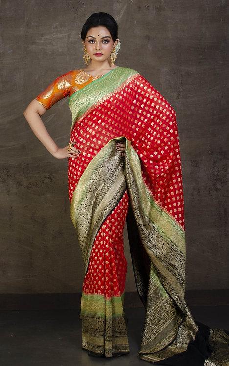 Pure Khaddi Georgette Banarasi Saree in Red, Green and Black