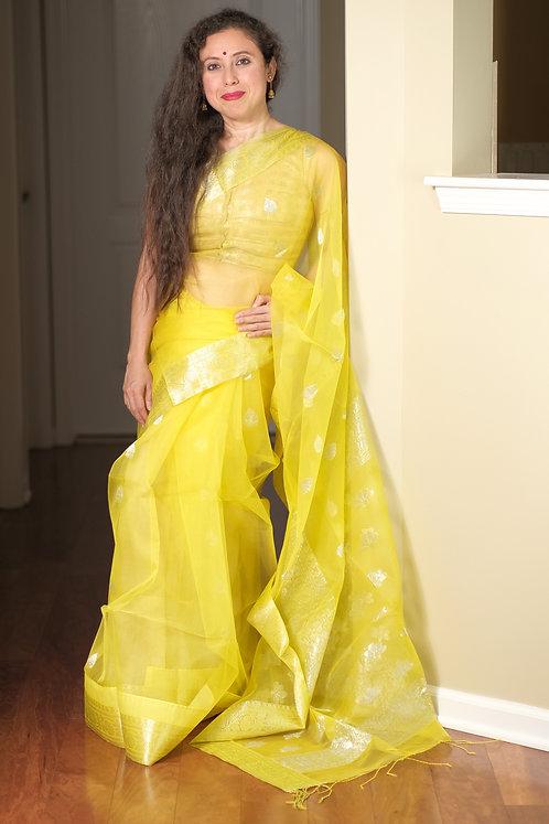 Muslin Banarasi Saree in Bright Yellow and Silver