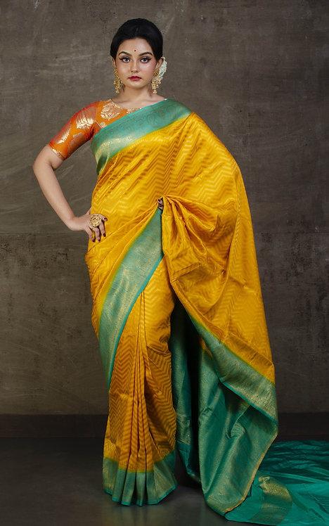 Semi Silk Banarasi Saree in Golden Yellow and Turquoise