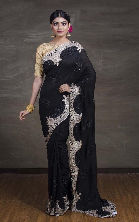 Designer Embroidery Work Semi Tussar Saree in Black