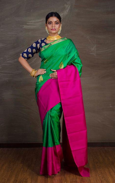 Premium Quality Kanchipuram Silk Saree in Emerald Green and Magenta