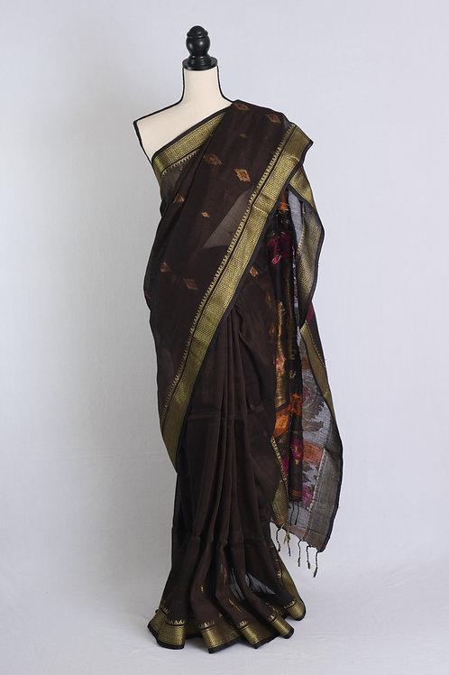 Silk Linen Banarasi Saree in Coffee and Antique Gold