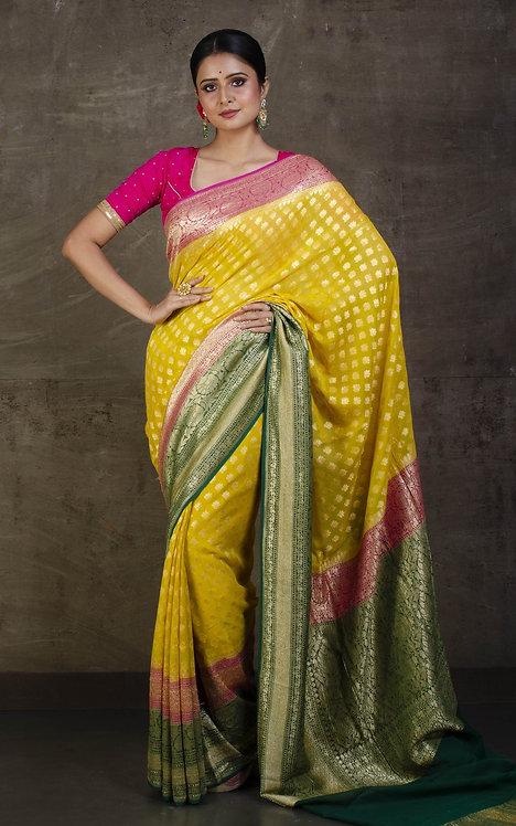 Pure Khaddi Georgette Banarasi Saree in Yellow, Magenta and Green
