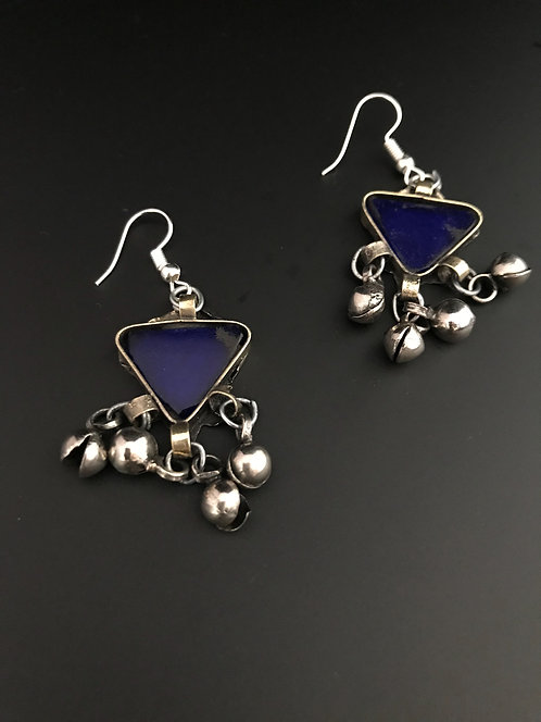 Afghan Tribal Earrings with Blue Glass Stones