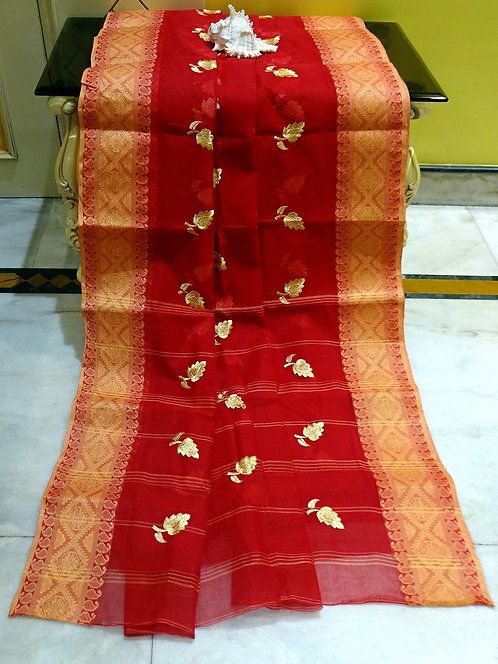 Bengal Handloom Cotton Embroidery Saree with Starch in Red and Brown