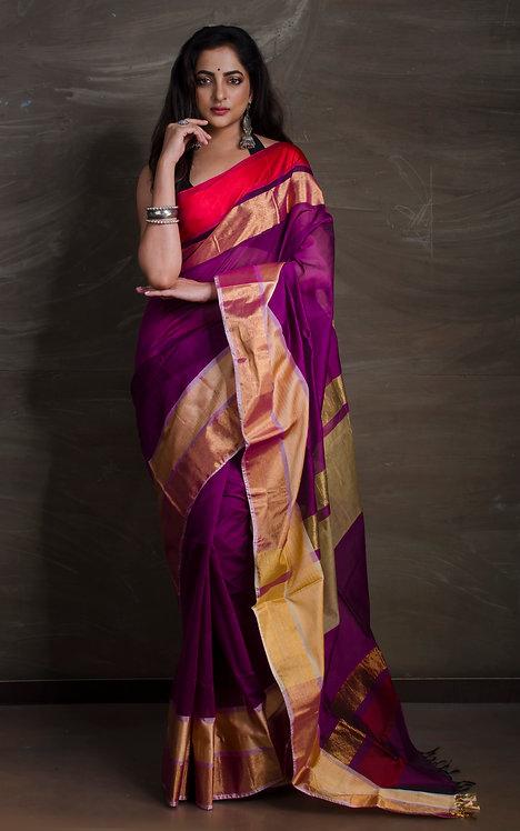 Maheshwari Cotton Silk Saree in Dark Purple, Red and Gold