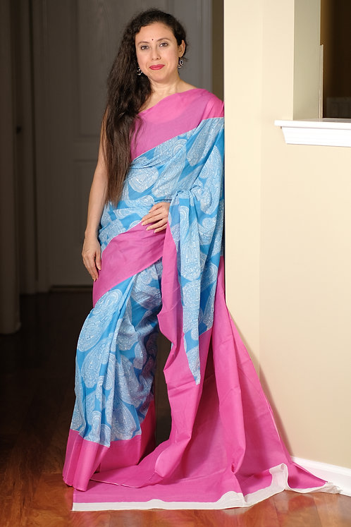 Soft Mul Cotton Saree in Blue and Pink