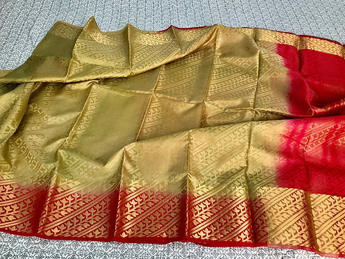 Art Silk Kanchipuram Saree in Beige and Red