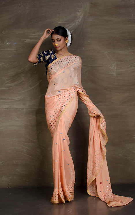 Crepe Silk Designer Saree with Mirror Embroidery in Peach and Gold