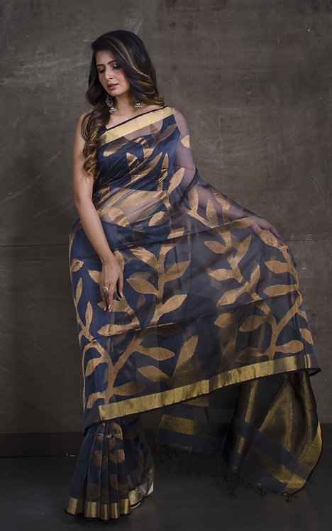 Muslin Jamdani Saree in Dark Gray and Gold