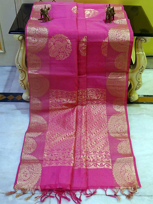 Blended Cotton Kanjivaram Saree with Starch in Pink and Gold