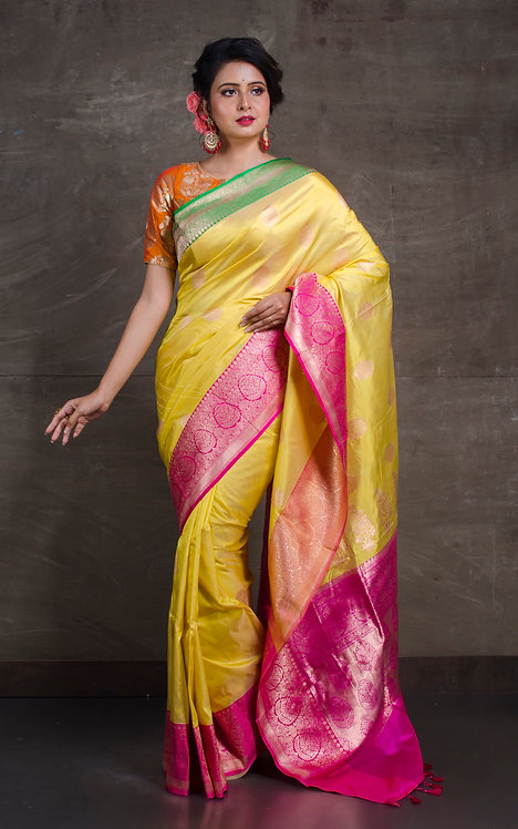 Pure Katan Banarasi Silk Saree in Lemon Yellow, Green and Pink