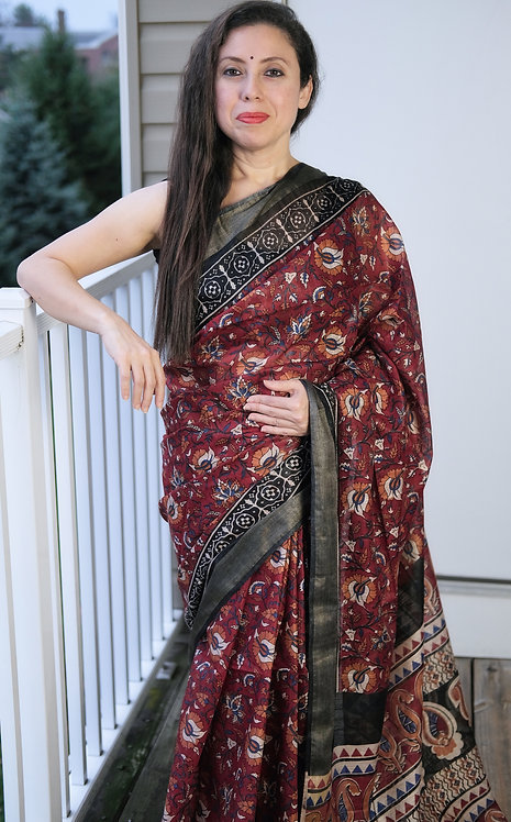 Block Printed Linen Cotton Saree in Maroon and Black