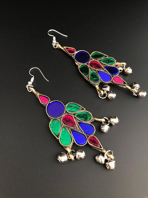 Afghan Glass Stones Earrings