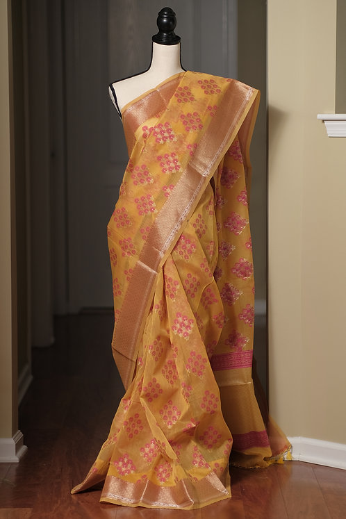 Blended Cotton Banarasi Saree in Yellow, Pink and Brushed Gold