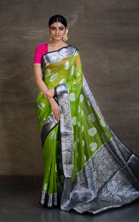 Semi Georgette Banarasi Saree in Moss Green, Black and Silver