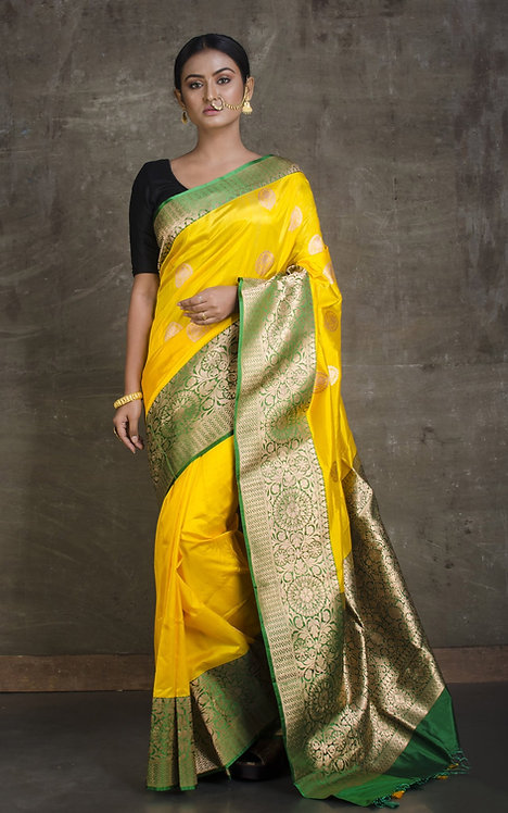 Pure Katan Banarasi Silk Saree in Bright Yellow, Green and Gold