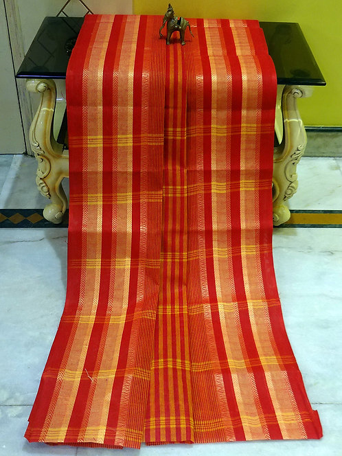 Bengal Handloom Cotton Saree with Starch in Red and Yellow