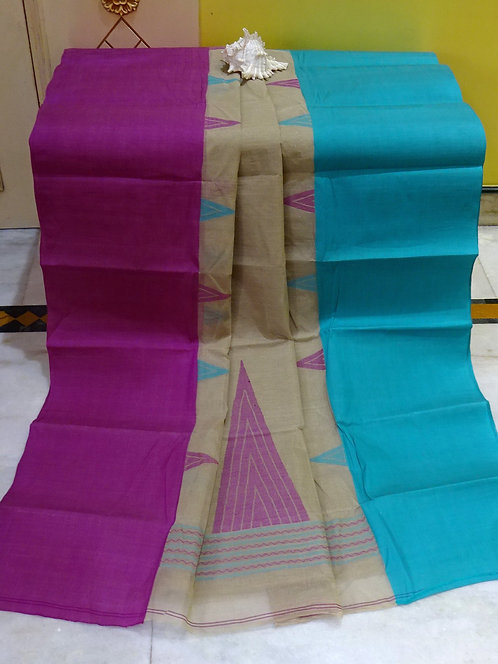 Bengal Handloom Cotton Saree with Starch in Cement Gray, Purple and Blue
