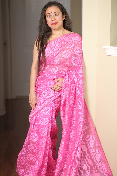 Soft Jamdani Saree in Pink