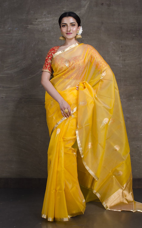 Pure Kora Banarasi Saree in Yellow, Silver and Gold