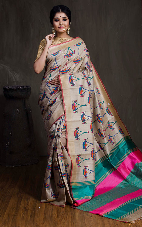 Tussar Kalamakri Saree in Beige, Green and Hot Pink